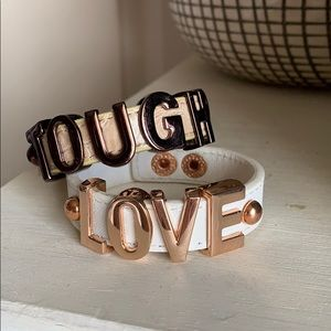"""Tough love"" cuff bracelets"
